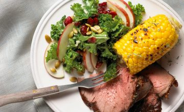 Beer-Soaked Beef Rotisserie Roast with Skillet Corn & Kale Salad