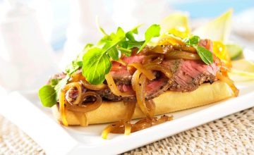 Grilled Beef Steak Sandwich with Melted Onions
