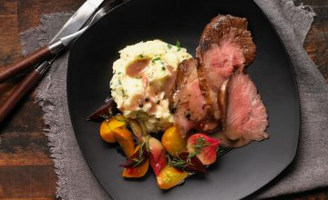 Roast Beef with Peppercorn Wine Sauce and Make Ahead Glazed Beets